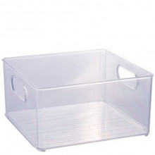 Cesto Organizador Multiuso de Plástico Cristal 20x20cm Geladeira - 13026 - Plasutil - Loladecor