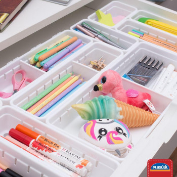 Organizador de Gaveta de Plástico com Divisória Móvel L1 (22,5x7,9x5,0 cm) - 9724 - Plasutil