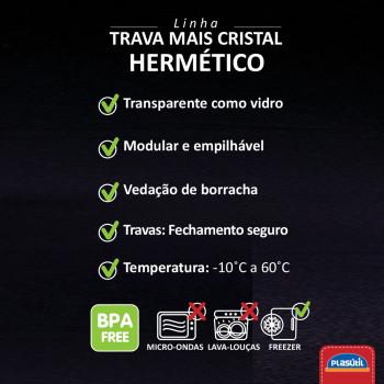 Pote Hermético Trava Mais 830ml Cristal 13645 - Plasutil