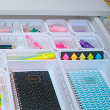 Organizador de Gaveta de Plástico com 2 Divisórias Móveis L2 (37,5x15,4x5,0 cm) - 9973 - Plasutil