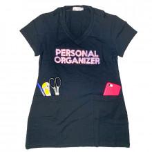 Camiseta Personal Organizer CobreLegging Preta com Rosa Tam G