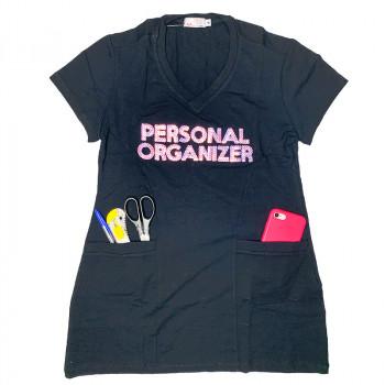 Camiseta Cobre Legging - Preta - Personal Organizer - Bordado Rosa - Loladecor