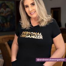Camiseta Personal Organizer CobreLegging Preta com Dourado Tam P