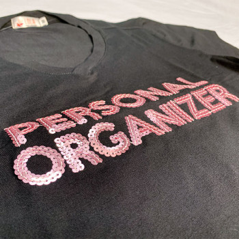 Camiseta Personal Organizer Baby Look Preta com Rosa Tam GG