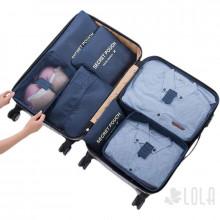 Pack Organizador de Mala 7 pecas com Porta Calcados - 04 - Kits - 02 Azul Bebe - 01 Vinho - 01 Rosa Bebe