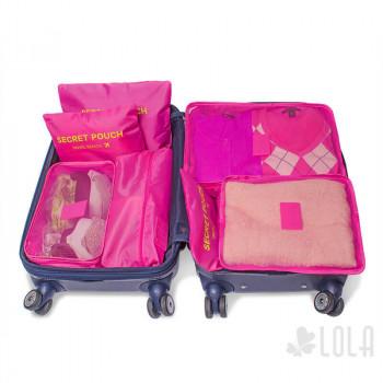 Organizador de Mala - Kit com 7 peças - Pink - Loladecor Artigos e Decorações