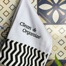 Pano de Prato Gourmet Bordado com Barrado - Clean & Organize