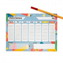 Planner Semanal Escolar Azul - 24 folhas - Loladecor