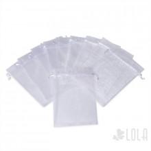 Saco de Organza - 10x15cm - kit com 10 peças - Branco - Loladecor Artigos e Decorações