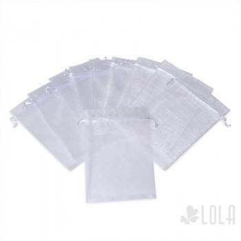 Saco de Organza - 11x15cm - kit com 10 peças - Branco - Loladecor Artigos e Decorações
